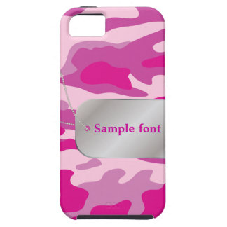 PixDezines Sassy Pink Camo+Dog+Tag iPhone 5 Cases