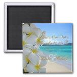 PixDezines Save Date, Beach+Plumeria Lei Square Magnet