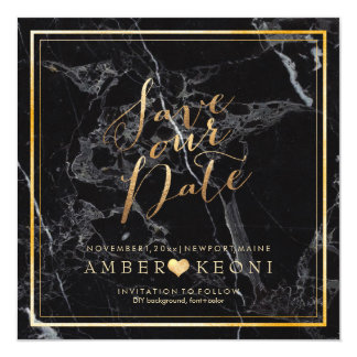 PixDezines Save Date/Black Marble/Faux Gold Card