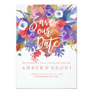 PixDezines Save Date/Floral Watercolor/Autumn 11 Cm X 16 Cm Invitation Card