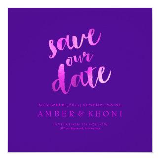 PixDezines Save Date/Hot Pink/DIY Background 13 Cm X 13 Cm Square Invitation Card