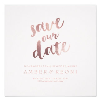 PixDezines Save Date/Rose Gold/DIY Background 13 Cm X 13 Cm Square Invitation Card