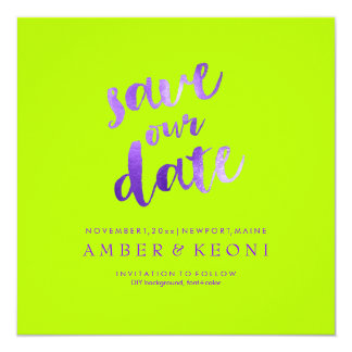 PixDezines Save Date/Violet Purple/DIY Background 13 Cm X 13 Cm Square Invitation Card