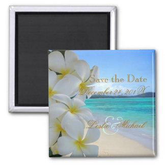 PixDezines SAVE THE DATE / BEACH+PLUMERIA LEI Square Magnet
