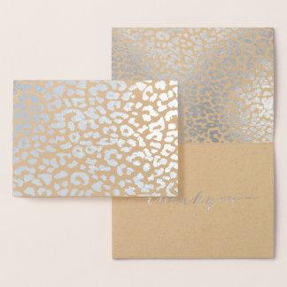 PixDezines Silver Leopard Spots Thank You Foil Card