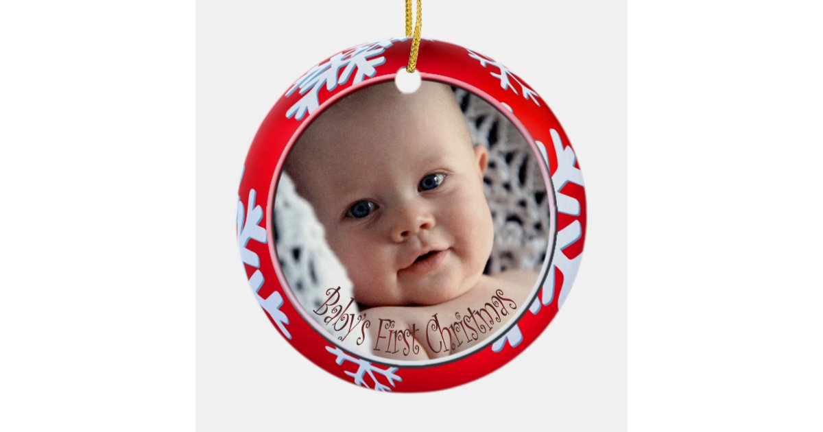 Pixdezines snowflakes baby 39 s first christmas round ceramic for Babys first christmas decoration