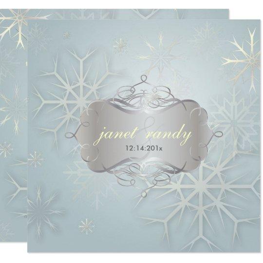 PixDezines SNOWFLAKES/WINTER WEDDING 13 Cm X 13 Cm Square Invitation Card