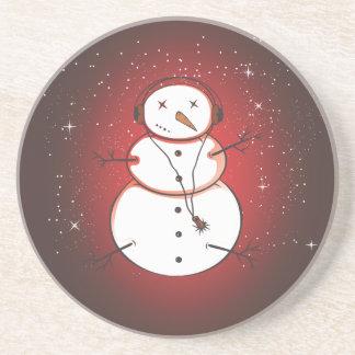 PixDezines Snowman/red+speckle flakes Sandstone Coaster