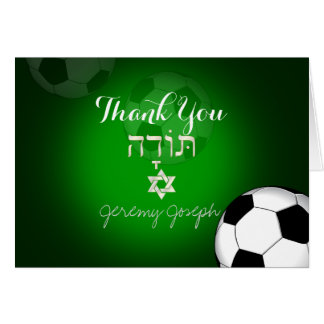 PixDezines Soccer Bar Mitzvah Thank You/DIYcolor Card