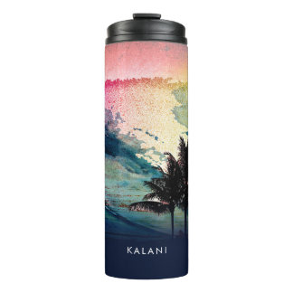 PixDezines Surfs Up Hawaiian Beach/Pink/Green Thermal Tumbler