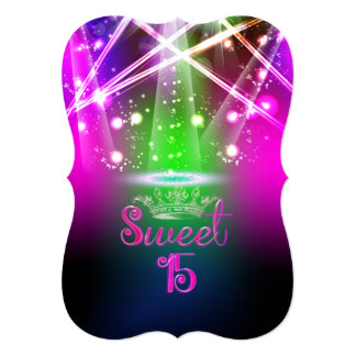 PixDezines Sweet 15, Laser Lights/Neon Lights 13 Cm X 18 Cm Invitation Card