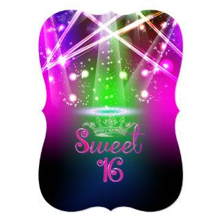 PixDezines Sweet 16, Laser Lights/Neon Lights 13 Cm X 18 Cm Invitation Card