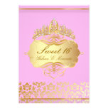 PixDezines Sweet 16/ princess/pink+gold damask Personalized Announcements