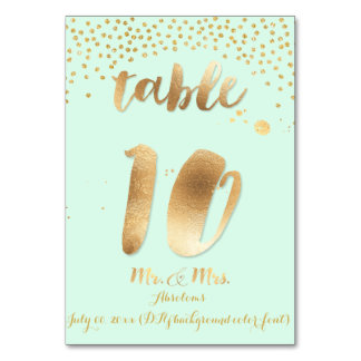 PixDezines table 10/gold sprinkles/DIY color/mint Table Cards