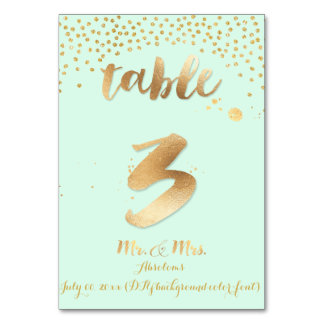 PixDezines table 3/gold sprinkles/DIY color/mint Table Cards