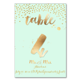 PixDezines table 4/gold sprinkles/DIY color/mint Table Cards
