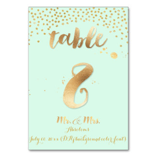 PixDezines table 8/gold sprinkles/DIY color/mint Table Cards