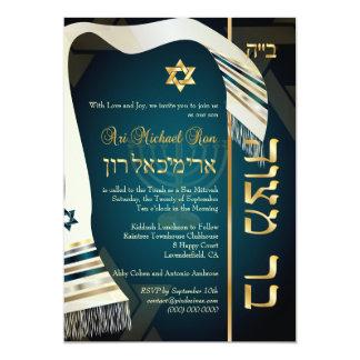PixDezines tallit Bar Mitzvah/dark teal blue/gold 13 Cm X 18 Cm Invitation Card