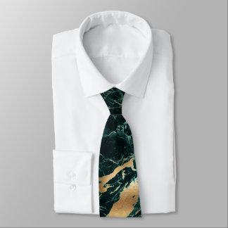 PixDezines Teal Green Marble Slab+Gold Veins Tie