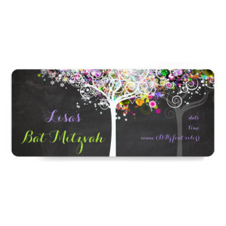 PixDezines tree of life Bat Mitzvah/chalkboard 10 Cm X 24 Cm Invitation Card
