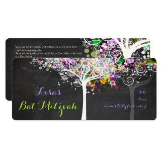 PixDezines tree of life Bat Mitzvah/chalkboard Card