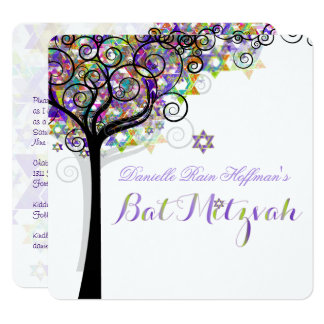 PixDezines TREE OF LIFE BAT MITZVAH/PURPLE+PINK 13 Cm X 13 Cm Square Invitation Card