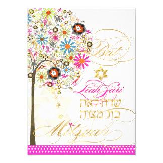 PixDezines tree of life+floral, Bat Mitzvah Card