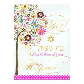 PixDezines tree of life+floral, Bat Mitzvah Invitation