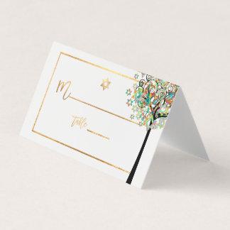 PixDezines Tree of LIfe+Green+Orange Place Card