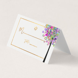 PixDezines Tree of LIfe+Pink+Green+Faux Gold Place Card