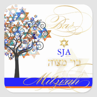 PixDezines tree of life+stars/Bar Mitzvah Square Sticker