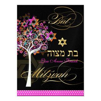 PixDezines tree of life+Stars, Bat Mitzvah Personalized Invite