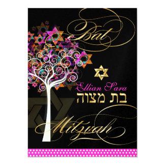 PixDezines tree of life+Stars, Bat Mitzvah Custom Invitations