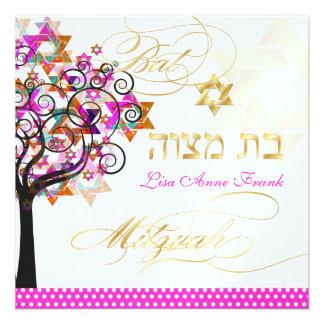 PixDezines tree of life+Stars, Bat Mitzvah Invitations