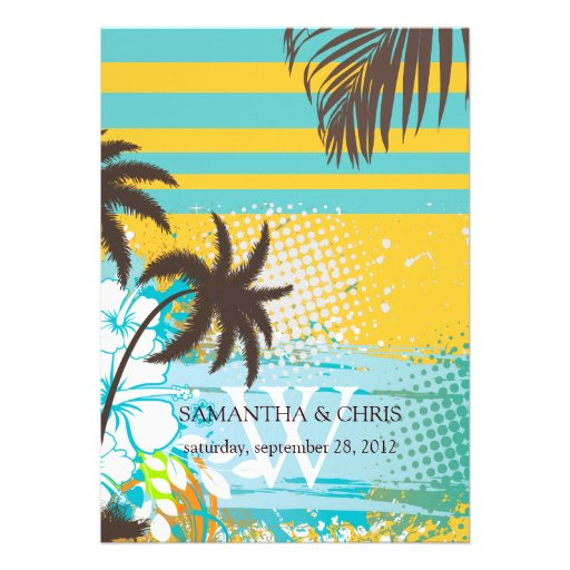 PixDezines tropical grunge/beach theme/DIY colors Invite