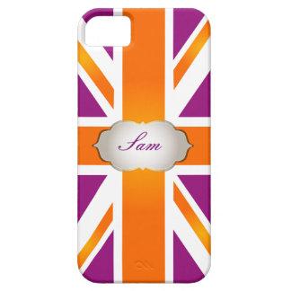 PixDezines union jack/raspberry+orange Case For The iPhone 5
