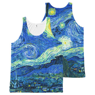 PixDezines van gogh starry night/st. remy All-Over Print Singlet