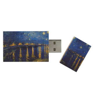 PixDezines van gogh starry night sur rhone Wood USB 2.0 Flash Drive