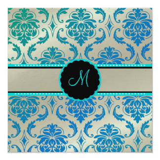 PixDezines Vendome Damask / Peacock Blue 13 Cm X 13 Cm Square Invitation Card