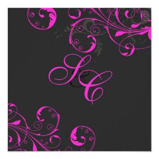 PixDezines Vine swirls, Neon Pink/DIY color 13 Cm X 13 Cm Square Invitation Card