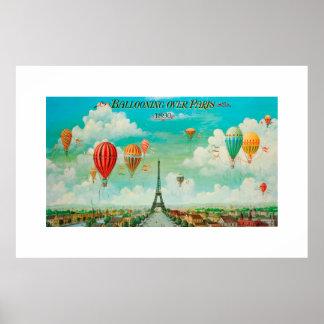 PixDezines vintage ballooning over paris Poster