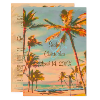 PixDezines VINTAGE BEACH SCENE/HAWAII/SLATE BLUE Card
