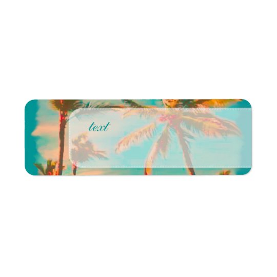 PixDezines vintage beach scene Return Address Label