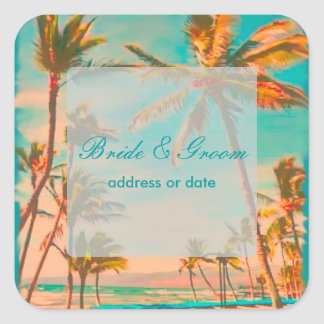 PixDezines vintage beach scene Square Sticker