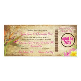 PixDezines vintage boarding pass/bird of paradise 10 Cm X 24 Cm Invitation Card