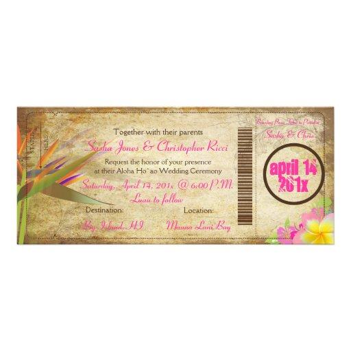 PixDezines vintage boarding pass/bird of paradise Personalized Invitations