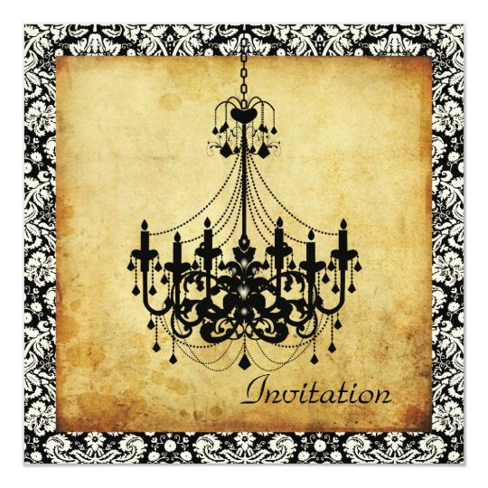 PixDezines Vintage Chandelier+damask borders Card