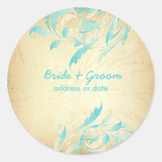 PixDezines vintage fancy quills/aqua blue Classic Round Sticker