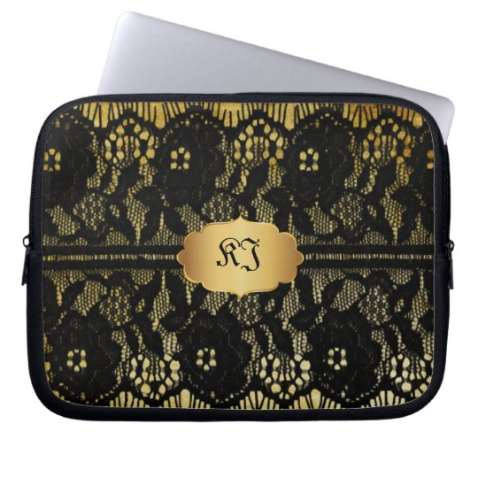 PixDezines vintage faux black lace Laptop Sleeve