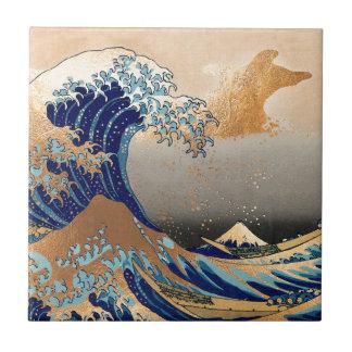 PixDezines Vintage, Great Wave, Hokusai 葛飾北斎の神奈川沖浪 Ceramic Tile